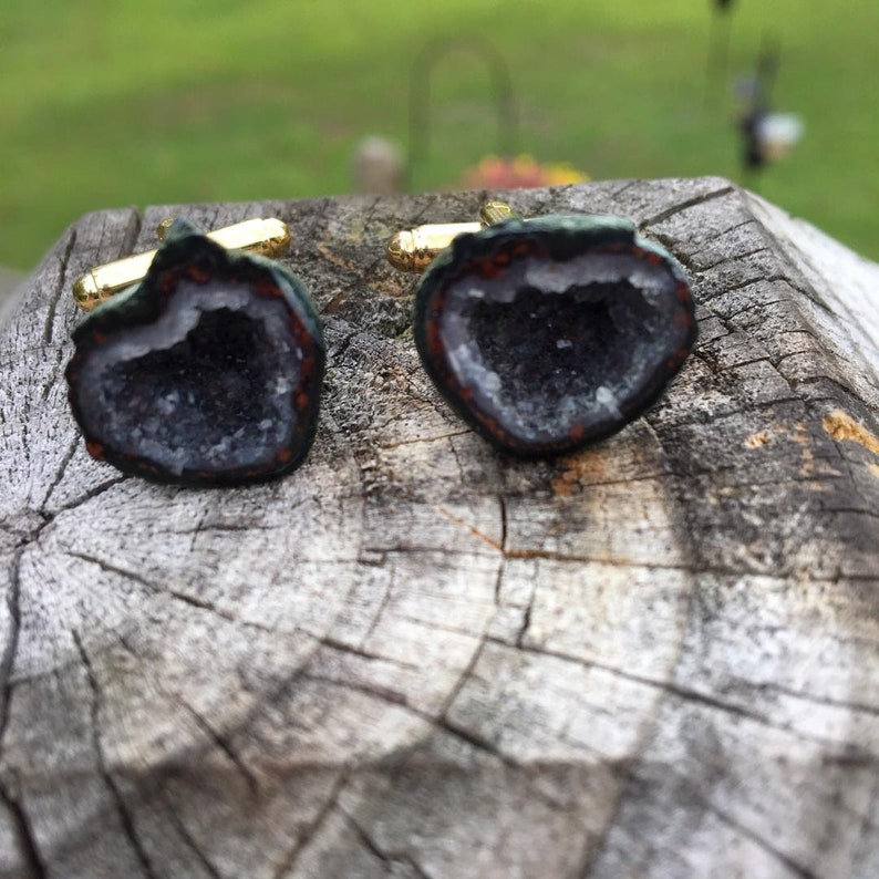 HOT CRYSTALS  Polished stone surrounding white crystal sparkles  Raw Geode  cufflinks, Gift boxed and ready to give to your best guy