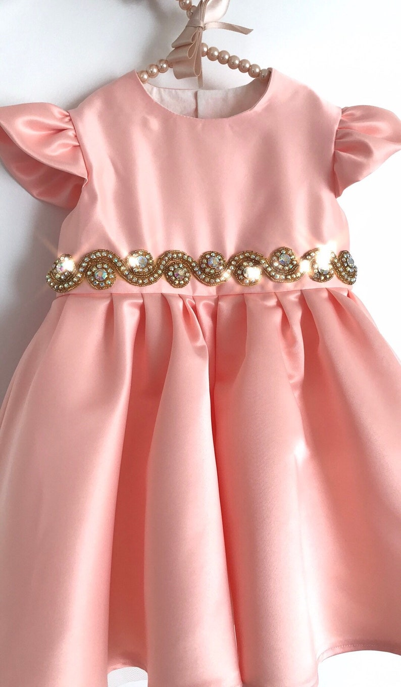 Rhinestone Sash Pageant Dress with golden rhinestone sash and tulle skirt Special Occasion Bespoke Girl/'s Gown Baby Birthday Dress