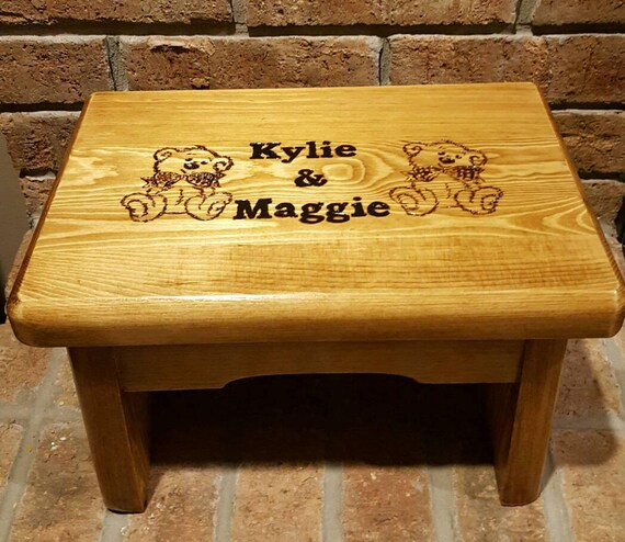 Marvelous Personalized Kids Wood Step Stool With Multiple Names Engraved Childrens Step Stool With Handles Water And Stain Resistant Caraccident5 Cool Chair Designs And Ideas Caraccident5Info