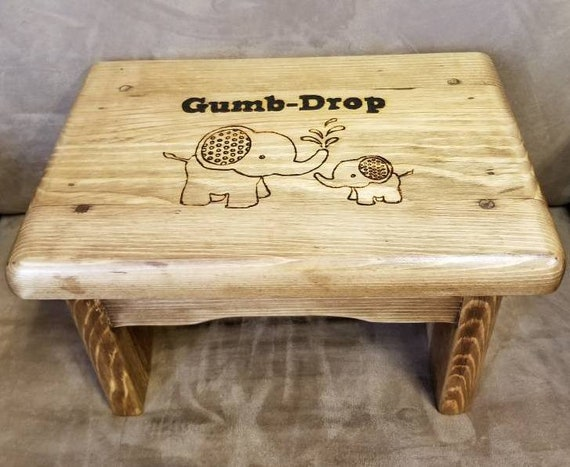 Enjoyable Mommy And Baby Elephant Personalized Step Stool Childrens Wood Stained Step Stool Kid Safe Step Stool Caraccident5 Cool Chair Designs And Ideas Caraccident5Info