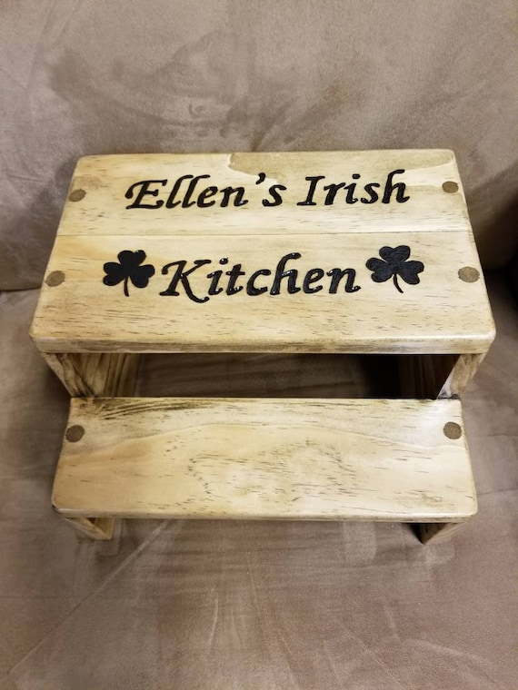 Wondrous Irish Kitchen Personalized Step Stool Custom Quality Step Stools Caraccident5 Cool Chair Designs And Ideas Caraccident5Info