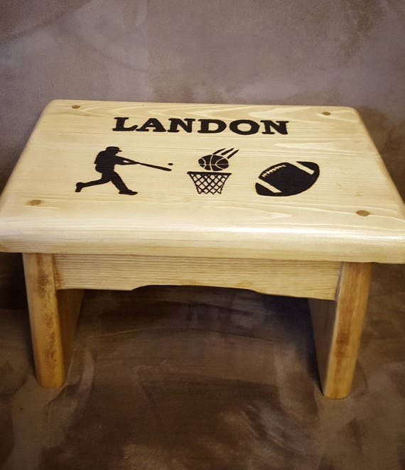 Cool Sports Step Stool Baseball Basketball And Football Personalized Step Stool Wood Childrens Step Stool Boys Step Stool Short Links Chair Design For Home Short Linksinfo