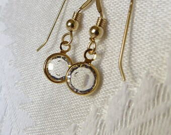 Gold Vermeil Earring with Crystal Charm, GE-227