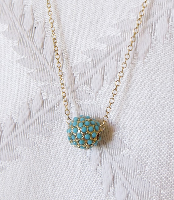 3b3648b700fc Gold Filled Necklace with Turquoise and Gold Ball Charm