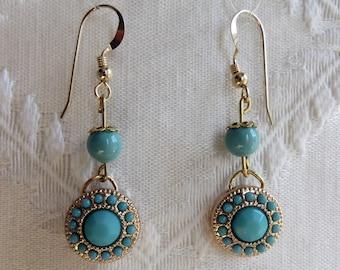 Gold Circular & Turquoise Beaded Dangle Earrings, GE-269