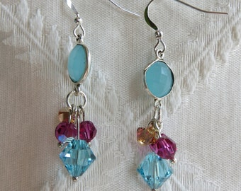 Multi-Color Swarovski Drop Earrings, SE-287