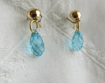 Gold and Aqua Swarovski Drop Earrings, GE-241