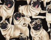 Timeless Treasures - Dogs - Pugs - Black - Cotton Fabric by the Yard or Select Length C2488-PUG photo