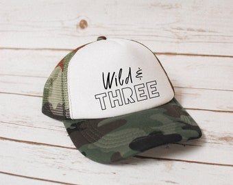 c1008683f9410 Wild   Three   3rd Birthday   Toddler   Youth   Trucker Hat   Snapback