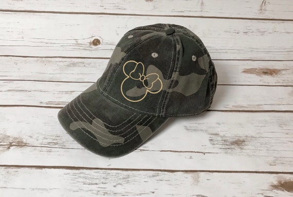 a2102d592 Minnie Camo Hat / Disney Vacation / Camouflage / Minnie Mouse (Rose Gold  Foil)