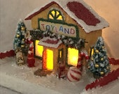MINI Yellow and Red Putz Toy Store Glitter House Christmas Village Putz House Handmade Putz Vintage Style Handcrafted Putz Gift