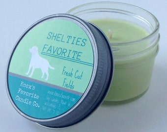 Fresh Cut Fields Soy Candle, Scented Candle, Dog Lover Gift, Gift for Her, Gift for Him, Dog Candle, Shelties Favorite Soy Candle 4oz Jar
