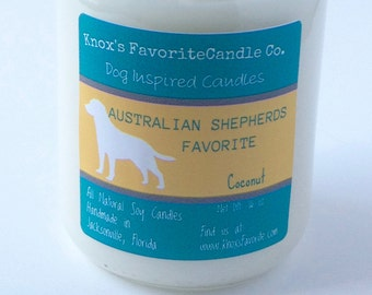 Australian Shepherd Candle, Scented Candle, Coconut Soy Candle, Dog Mom Gift, Pet Gift, Dog Lover Gift Gift for Her Gift for Him Dog Candle