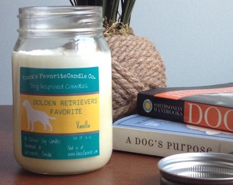 Golden Retriever, Vanilla Soy Candle, Scented Candle, Dog Lover Gift, Gifts for Dog Lovers, Fur Mama, Gift for Her, Gift for Him, Dog Candle