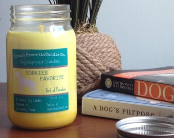 Scented Candle, Bird of Paradise Soy Candle, Dog Lover Gift, Gift for Her, Gift for Him, Dog Candle, Yorkies Favorite Soy Candle 16oz Jar
