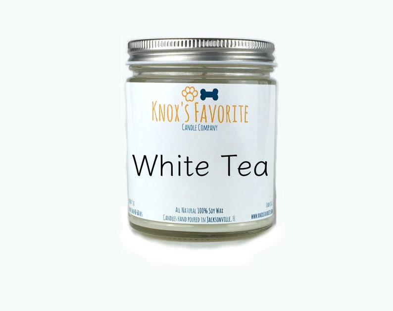 White Tea scented soy 9 oz candle dog lover gift for her image 0
