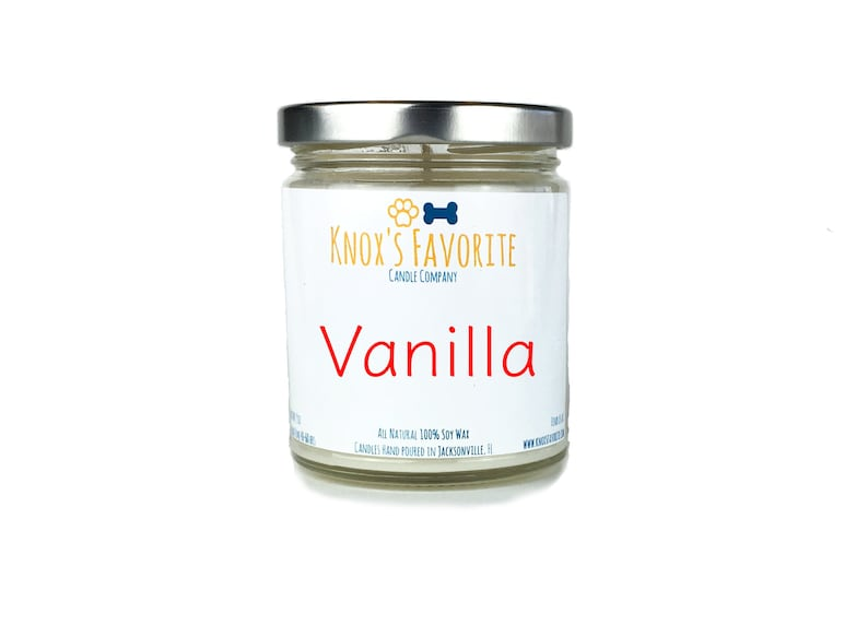 Vanilla scented soy 9 oz candle dog lover gift idea for her image 0