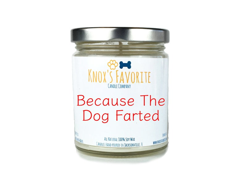 Because The Dog Farted scented soy 9 oz candle funny dog image 0
