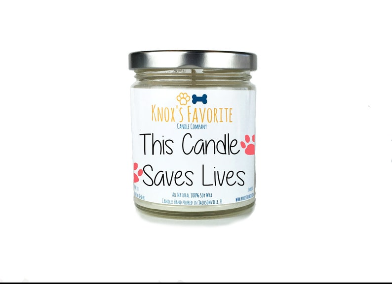 This Candle Saves Lives scented soy 9 oz candle animal rescue image 0