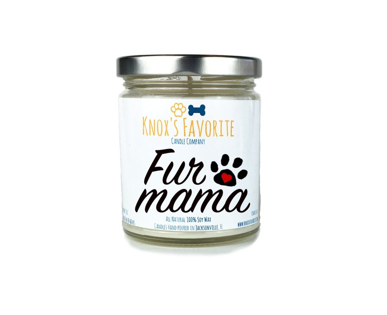 Fur Mama scented soy 9 oz candle dog mom lover gift for her image 0