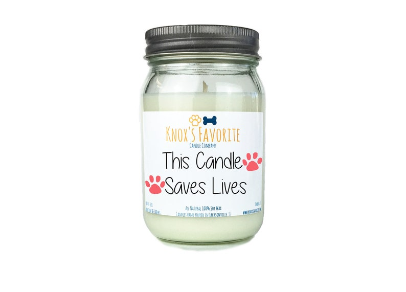 This Candle Saves Lives scented soy 16 oz candle animal image 0