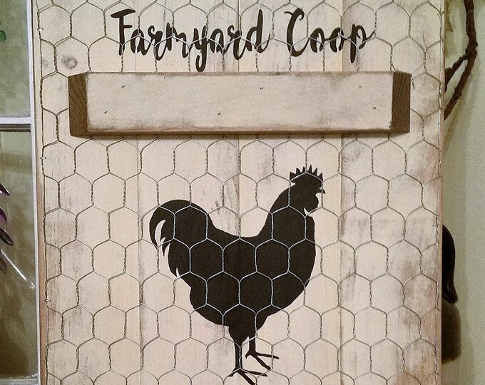 Primitive Rooster Farmyard Coop Sign