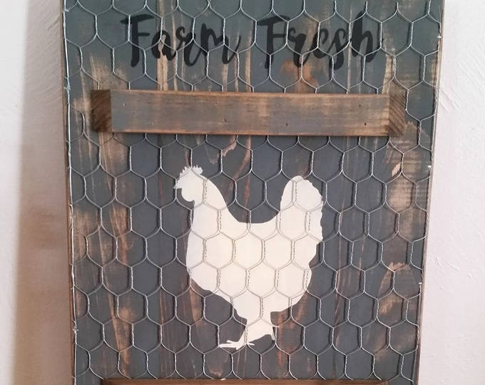 Primitive Chicken Farm Fresh Eggs Sign