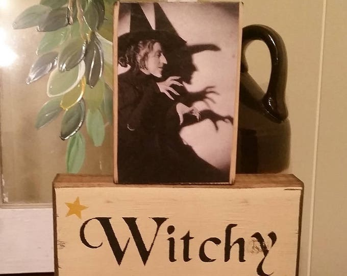 Primitive Witchy Woman Wood Block Sign With Vintage Postcard