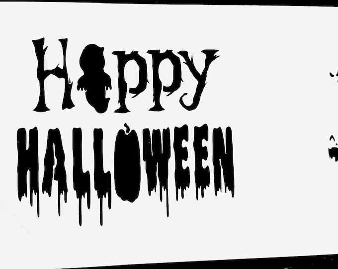 Mini Happy Halloween Stencil - Ghost/Jack-O-Lantern/Halloween Stencil - Stencil Only