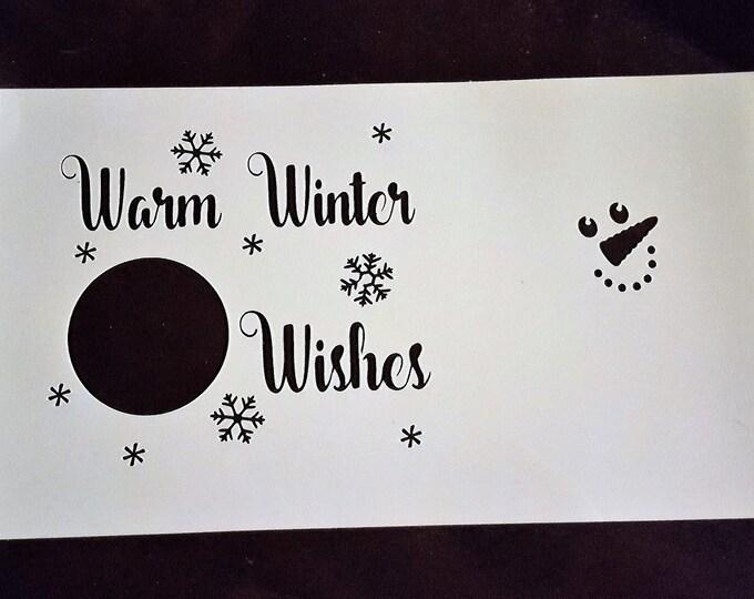 Mini Warm Winter Wishes Stencil - Winter/Christmas Stencil - Stencil Only