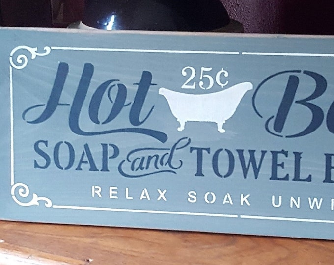 Primitive Hot Bath Sign - Bathroom Sign/Bath Sign