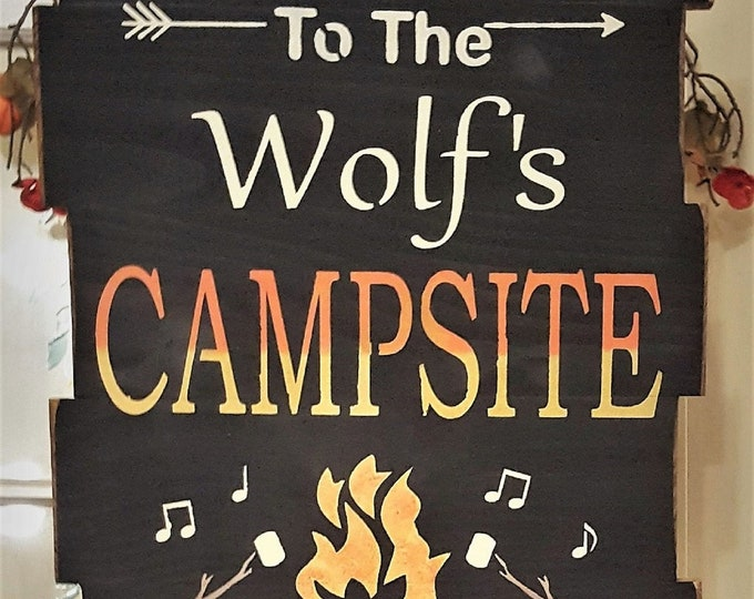 Personalized Primitive Large Welcome To Our Campsite Sign, Outdoor Sign, Solid Wood Sign