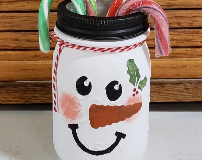 Christmas Snowman Mason Jar, Christmas Snowman Decorations, Farmhouse Christmas, Christmas Snowman Decor, Mason Jar Decor