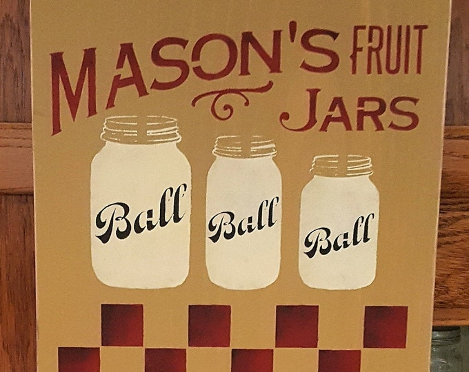 Primitive Large Ball Mason Jar Checker Board