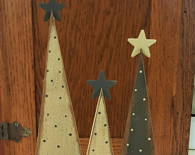 Primitive Christmas Trees - Set Of 3 - Christmas/Christmas Trees