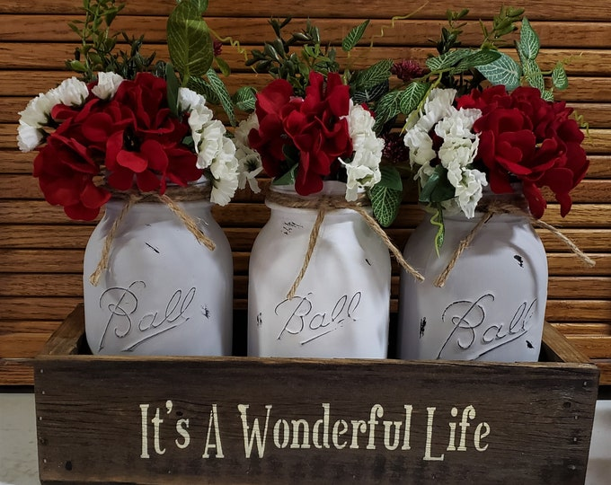 Primitive Mason Jar Centerpiece, Lights, Farmhouse Floral, Mason Jar Floral, Rustic Home Decor, Mason Jar Decor