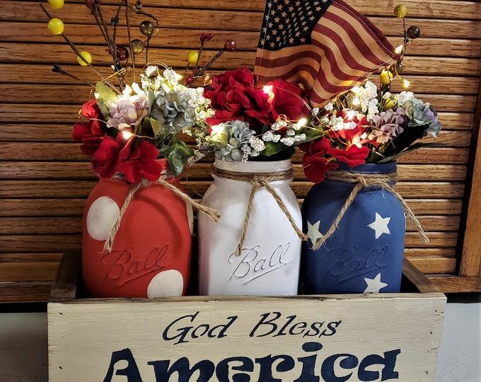 Americana Mason Jar Centerpiece, Lights, Americana Decor, Farmhouse Floral, Mason Jar Decor, Rustic Home Decor