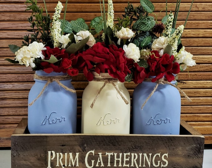 Primitive Mason Jar Centerpiece, Lights, Farmhouse Floral, Mason Jar Floral, Rustic Home Decor, Mason Jar Decor, Prim Gatherings