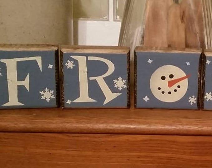 "Primitive ""Frosty"" Snowmen Wood Blocks Sign"
