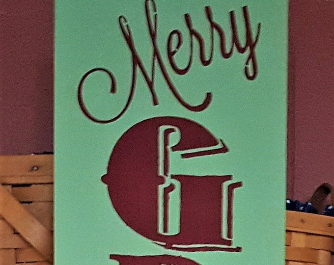 "Merry Grinch Christmas, Large 50"" - Christmas, Grinch, Holiday, Christmas Sign, Winter, Merry Christmas"