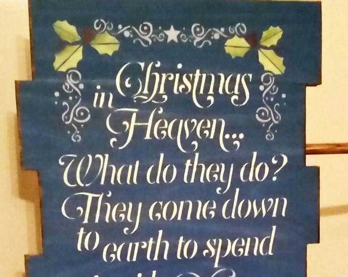 Primitive Large Christmas In Heaven Sign, Christmas Sign, Heaven Sign, Solid Wood Sign