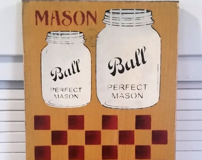 Primitive Ball Mason Jar Checker Board Wood Sign