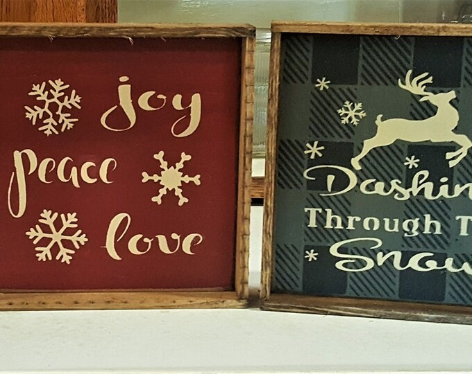 Primitive 8 x 8 Mini Plaid Christmas/Winter Signs - Winter/Christmas/Snowflakes