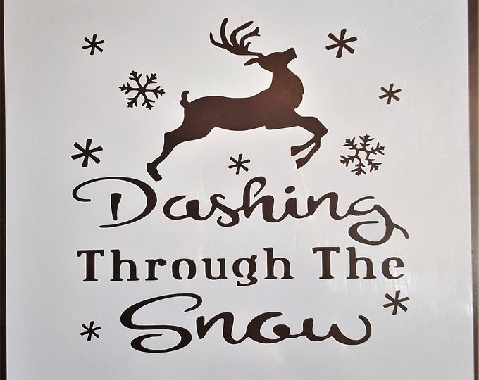 Mini Dashing Through The Snow Stencil - Winter/Christmas Stencil - Stencil Only
