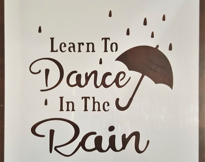 Mini Learn To Dance In The Rain Stencil - Rain/Umbrella/Dance Stencil - Stencil Only
