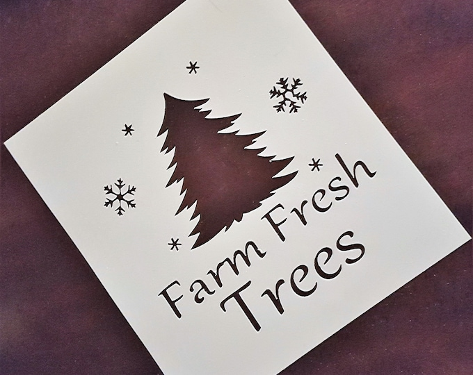 Mini  Farm Fresh Trees Stencil - Winter/Christmas Stencil - Stencil Only