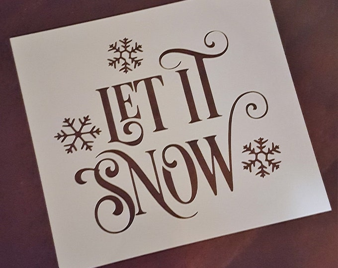 Mini Let It Snow Stencil - Winter/Christmas Stencil - Stencil Only