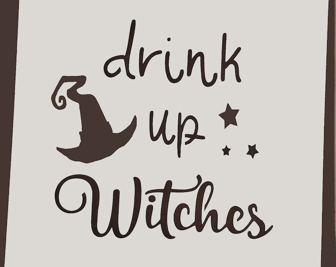 Mini Drink Up Witches Stencil - Fall/Halloween Stencil - Stencil Only