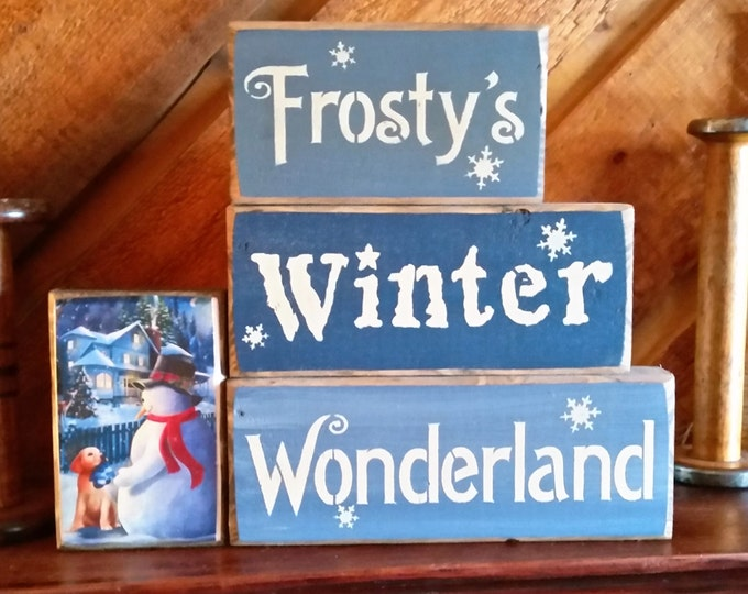 "Primitive Snowman ""Frosty's Winter Wonderland"" Block Sign"