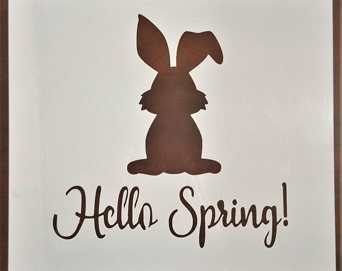 Mini Hello Spring Bunny Stencil - Easter/Spring/Bunny Stencil - Stencil Only